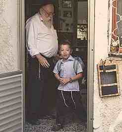 Moshe Holzberg and grandfather on first day of school 8-27-2012 4