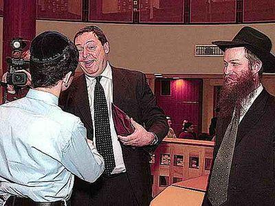 Nathan Jacobson with Chabad rabbi and son