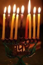 Lit Hanukkah Menorah