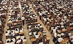 Inside of haredi yeshiva full of students