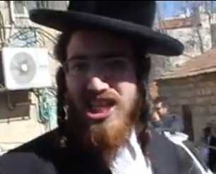 Yerushalmi haredi man screaming outside Mir Yeshiva in Jerusalem 2-19-2013