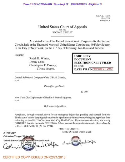 2013-02-21 Second Circuit Order Denying Agudah, et al, Request For An Emergency Stay MBP Case