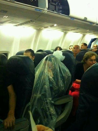 Haredi man plane plastic bag over body 4-2013