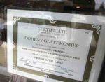 Doheny Glatt Kosher Certificate Weiss 4-2013.345