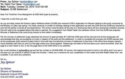 Spitzer Kashruth Council of Canada email to employees asking then to sign over OLRB settlement money to the Kashruth Council 10-2012 watermarked