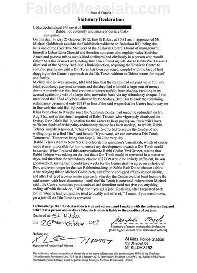 Mordechai Engel v Chabad Yeshiba Center statutory declaration watermarked and annotated