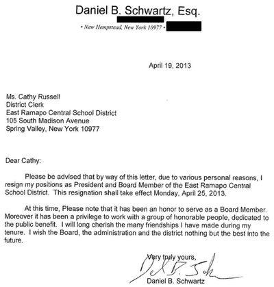 Daniel Schwartz resignation lettter 4-19-2013