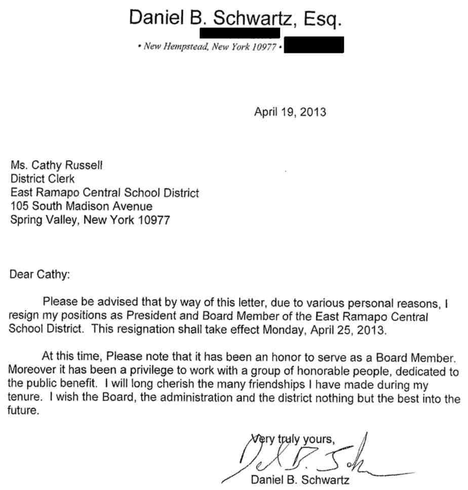orthodox president of scandal ridden school board abruptly resigns daniel schwartz resignation lettter 4 19 2013 - Board Member Resignation Letter Sample