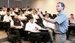 Haredi men in class at Kiryat Ono College