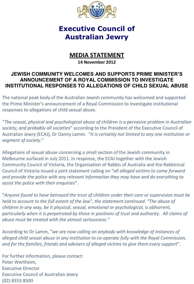 Executive Council of Australian Jewry Statement on Child Sex Abuse Commission Formation 11-14-2012