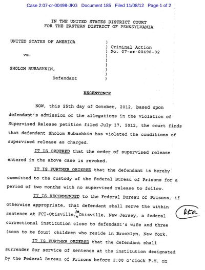 Sholom Rubashkin, Jr Judge's Order revoking supervised release 1