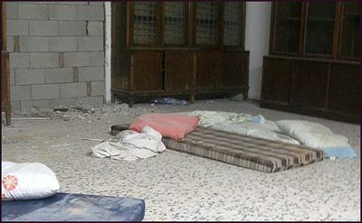 Mattresses on floor of previous Vizhnitz Rebbes' Room
