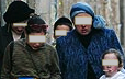 Haredi women and children eyes covered