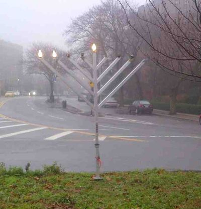 Chabad menorah steals electricity 5 12-10-2012