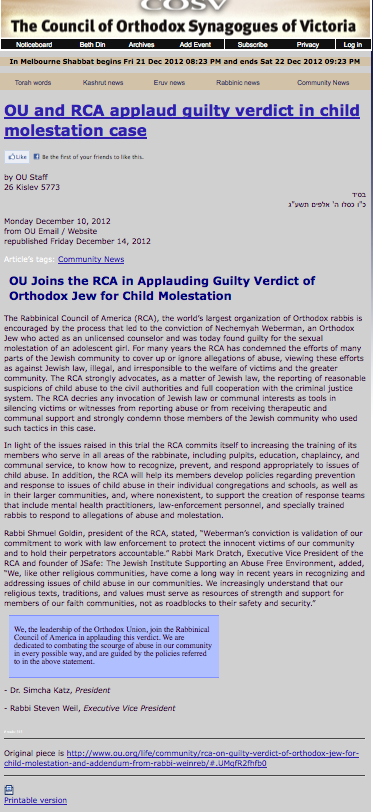 Ou and RCA Applaud Weberman Verdict (from Melbourne, shows original OU url of missing article)