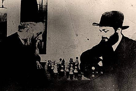 Freirdiker Rebbe and Rebbe playing chess adjusted