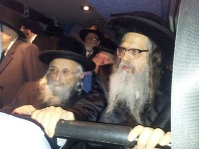 Satmar Rebbe and Rabbi Yitzchok Tuvia Weiss on private bus in Jerusalem 1-20-2013