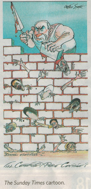 Sunday Times Gerald Scarfe Anti-Netanyahu Cartoon 1-2013 as reprinted by British Hamodia with women's faces blured out