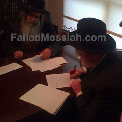 Williamsburg Satmar Rebbe Zalman Leib Teitlebaum left; Mordechai Furhand, right 2-6-2013 watermarked