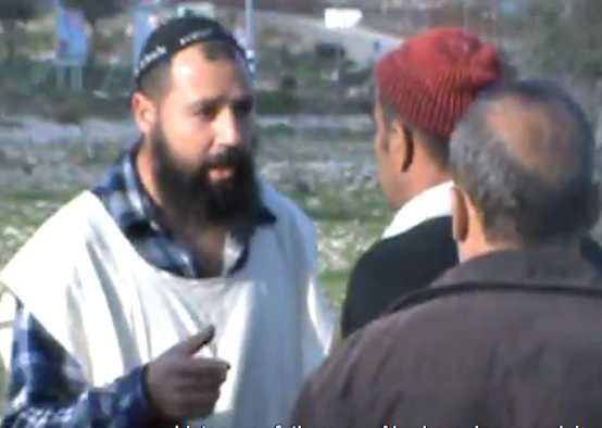 Chabad Messianist West Bank Settler Arguing With Palestinian Farmers 2-2013