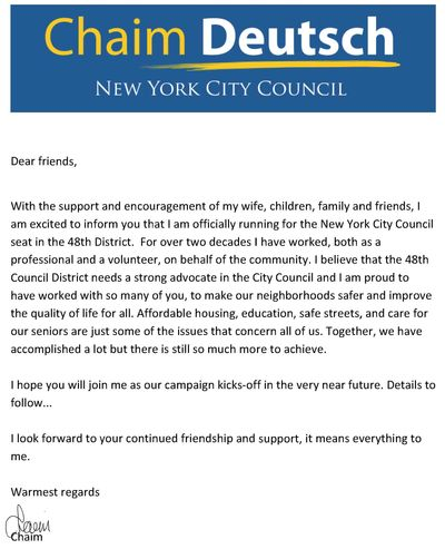 Chaim Deutsch letter run city council 4-2013