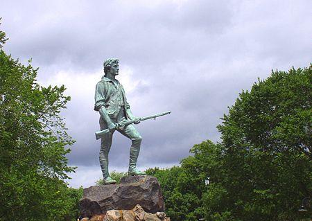 Statue of the Lexington Minuteman on the Lexington Green in Lexington, Massachusetts