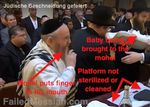 Mohel At Techtal bris Germany 3-2013 touches mouth with finger a moment before starting the circumcision annotated watermarked