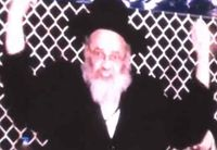 Rabbi arms raised speaking at anti-Internet rally Brooklyn 5-9-2013