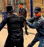 Haredi man arrested Jaffa 7-9-2013 graves protest