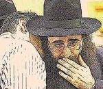 Rabbi Yoshiyahu Yosef Pinto hand on                     mouth closeup