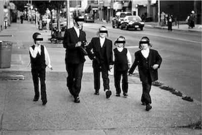 Haredi kids walking eyes covered B and W