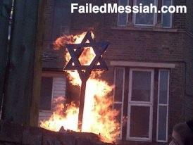 Satmar Toras Chesed Synagogue London Lag Ba'omer 2013 burning Jewish star watermarked