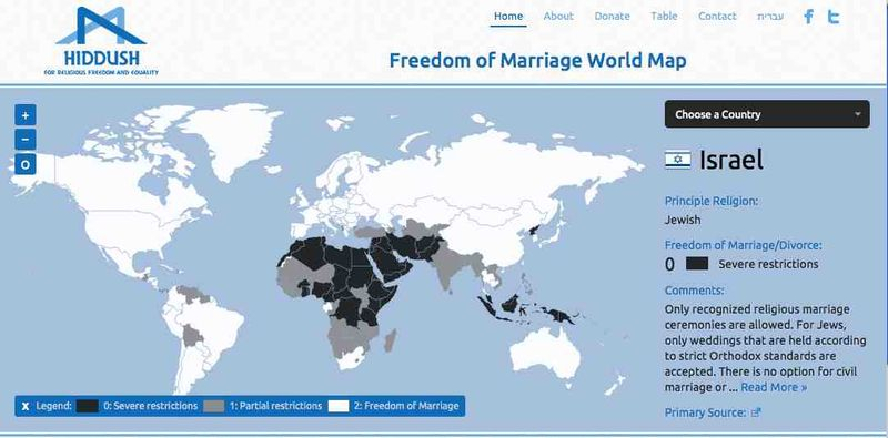 Hiddush Worldwide Freedom of Marriage Project world map