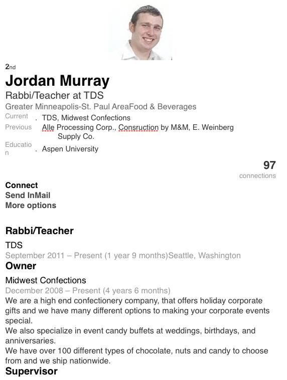 Rabbi Yaakov (jordan) E Murray LinkedIn page 1