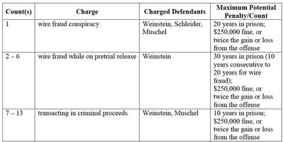 Weinstein, Muschel, Schleider charges and possible sentences 5-14-2013