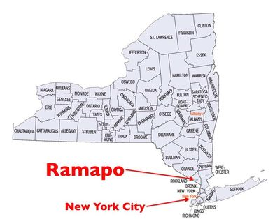 NY State Map Counties Ramapo NYC