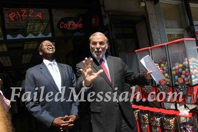 Dov Hikind (hands) with Ken Thompson (laughing) Borough Park 8-2013