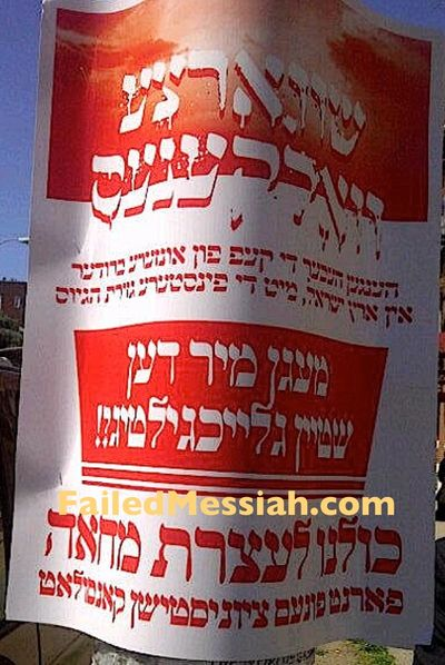 Satmar anti-Israel pashkvil demonstration 6-9-2013 NYC