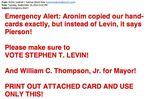 Satmar Bloc vote emergency email 9-10-2013