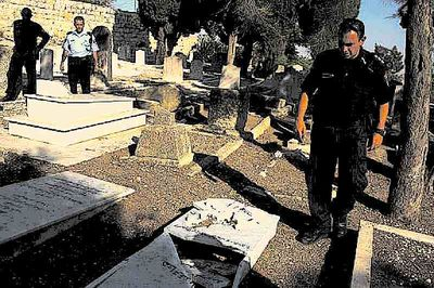 Smashed Christian Tombstone On Mount Zion 9-29-2013
