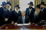 US President George W Bush with Chabad rabbis in the Oval Office 4-2008