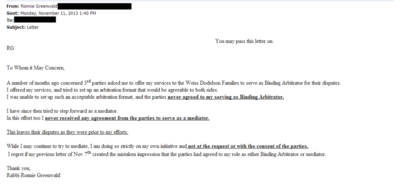 Ronnie Greenwald email 11-11-2013