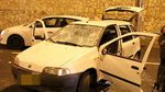 Arab car stoned by haredim Jerusalem pro-Abergel protest 11-16-2013