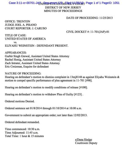 Weinstein Motions Denied Ordered Remanded 11-25-2013