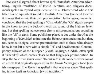 Excerpt from Hanukkah in America spelling of Hanukkah New York Times 1889