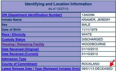 Jeremy Yakov Kramer prison record 12-2013