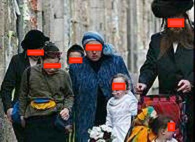 Haredi family eyes blocked out