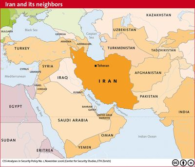 IRAN and its neighbors map