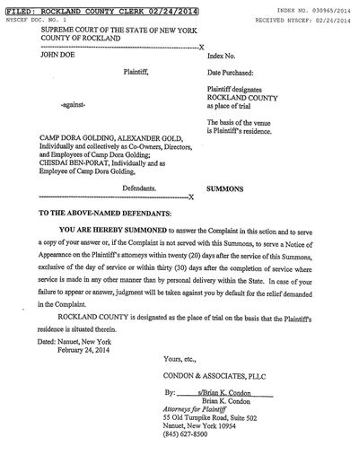 Civil Suit against Camp Dora Golding page 1