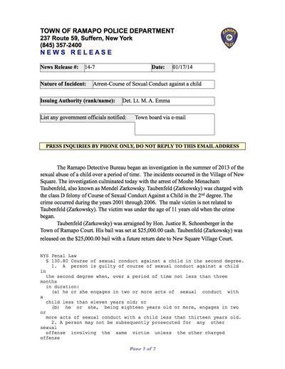 Moshe Menacham Taubenfeld arrest 1-17-2014